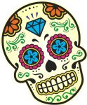Mexican Day Of The Dead SUGAR SKULL Multi Colour With Diamond Motif External Vinyl Car Sticker 120x90mm